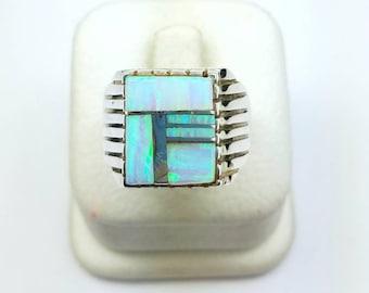 Native American Navajo handmade Sterling Silver Real Opal inlay ring