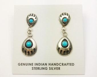 Native American Navajo Handmade Sterling Silver Nevada Bearpaw Earrings