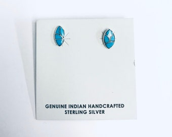 Native American Zuni Inlay handmade sterling silver and Turquoise stud earrings