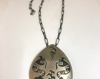 1990's Vintage Estate Piece Native American Handmade Hopi Sterling Silver Pendant and Chain