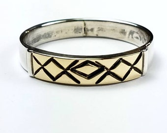 Native American Navajo handmade Sterling Silver 14k Gold ring