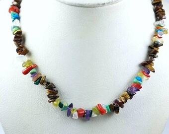 Native American Navajo handstrung multi-stone nugget bead necklace