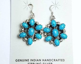 Native American Navajo handmade Sterling Silver Turquoise stone dangle drop earrings