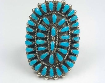 Native American Zuni handmade Sterling Silver needle point Sleeping Beauty Turquoise ring (Reserved For Customer)