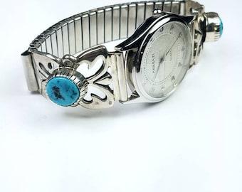 Native American Navajo handmade Sterling Silver Kingman Turquoise stone watch