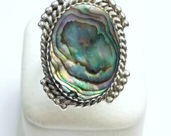 Native American Navajo Handmade Sterling Silver Abolone Shell Ring