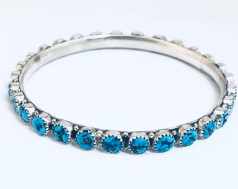 Native American Navajo Handmade Sterling Silver and Turquoise Bangle Bracelet