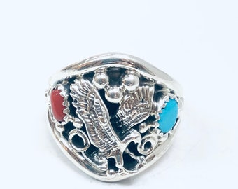 Native American Navajo handmade sterling silver turquoise eagle men's/women's ring
