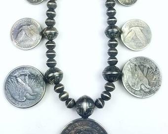Vintage Native American Navajo handmade Sterling Silver coin necklace