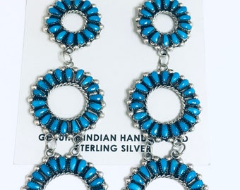 Native American Zuni Needlepoint Handmade Sterling Silver Turquoise Dangle Earrings