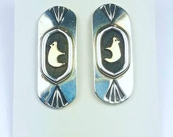 Native American Navajo handmade Sterling Silver 14k Gold overlay bear stud earrings