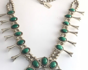 Native American Handmade Navajo Sterling Silver Malachite Squash Blossom Necklace