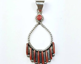 Native American Zuni handmade Sterling Silver needle point Mediterranean Coral pendant
