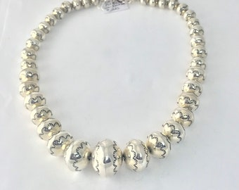 Larry Pinto Native American Handmade Sterling Silver Graduated Bead Choker Necklace