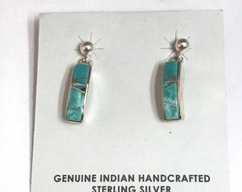 Native American Navajo Handmade Sterling Silver Turquoise Inlay Earrings