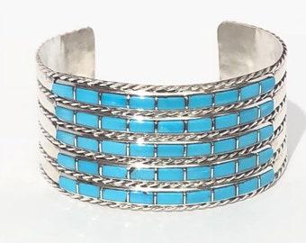 Native American Zuni Handmade Sleeping beauty Turquoise Inlay Cuff Bracelet