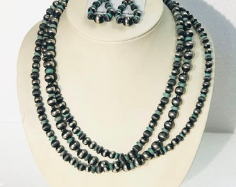 Native American Navajo handmade sterling silver Turquoise 3 strand beaded Two piece necklace set