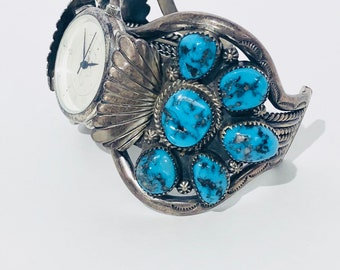 1960s Vintage Native American Navajo handmade sterling silver High grade Morenci turquoise watch cuff bracelet