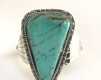 Native American Navajo Handmade Sterling Silver Turquoise Cuff Bracelets