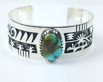 Native American Navajo handmade Sterling Silver Pilot Mountain Turquoise cuff bracelet by Timothy Yazzie