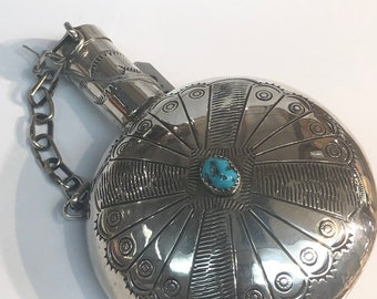 Vintage Flask Native American Navajo handmade sterling silver and turquoise