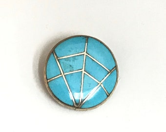 Native American Zuni Handmade Sterling Silver Turquoise Inlay Pendant Pin