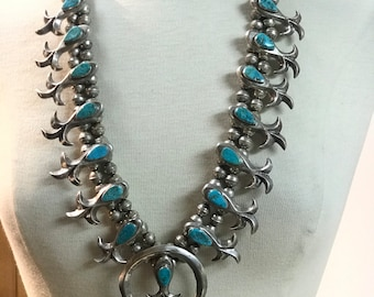 1960's Vintage Estate Piece Native American Hand Cast Sterling Silver Turquoise Squash Blossom Bead Necklace