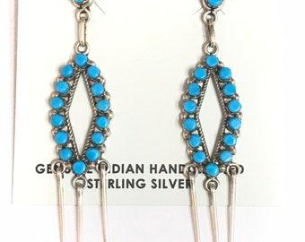 Native American Zuni Handmade Sterling Silver Turquoise Dangle Earrings