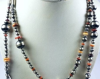 Native American Sterling Silver Navajo Pearl Spiny Oyster shell beaded necklace