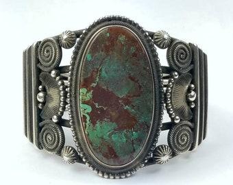Native American Navajo handmade Sterling Silver Ajax Turquoise bracelet by Rick Martinez