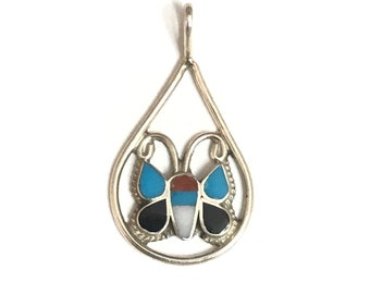 Native American Zuni Handmade sterling Silver Multi Gem Stone Inlay Butterfly Pendant