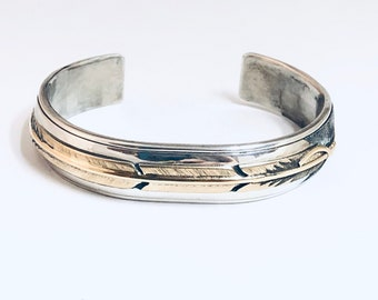 Native American Handmade Sterling Silver with 14kt Gold Overlay Cuff Bracelet