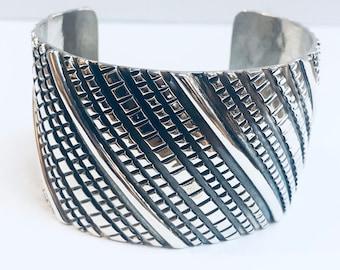 Native American Navajo handmade sterling silver cuff bracelet