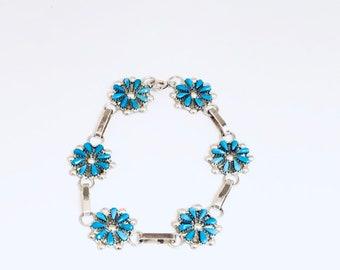 Native American Handmade Zuni Sterling Silver Sleeping Beauty Turquoise Chain Link Bracelet