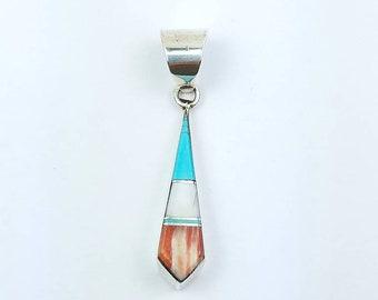 Native American Zuni handmade Sterling Silver multi-stone inlay pendant