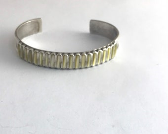 Native American Handmade Navajo Sterling Silver Mother of Pearl Shell Cuff Bracelet
