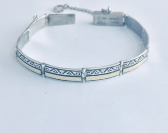 Native American Handmade Navajo Sterling Silver with 14 kt Gold overlay Lunk Bracelet