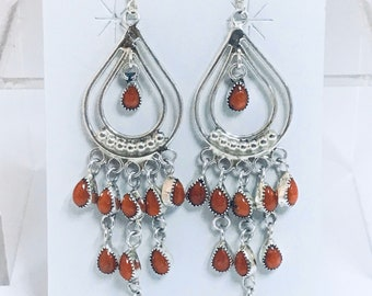 Stunning Native American Navajo Handmade Sterling Silver Coral Chandelier Earrings