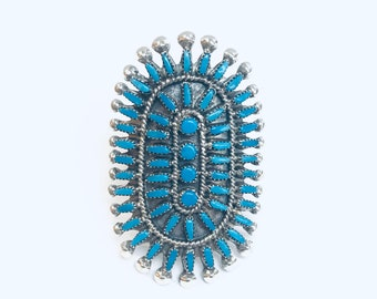 Native American Zuni handmade sterling Silver and Turquoise needlepoint ring