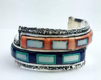 Native American Navajo handmade Sterling Silver multi-stone inlay cuff bracelet