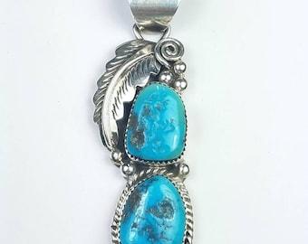 Native American Navajo handmade Sterling Silver Turquoise stone pendant