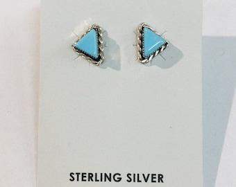 Native American Navajo handmade Sterlin silver and Turquoise stud earrings