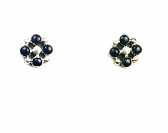 Native American Zuni handmade Sterling Silver Black Onyx post earrings