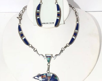 Native American Navajo handmade sterling silver Multi colored inlayed bear Necklace