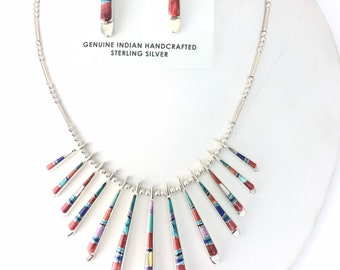 Native American Navajo handmade Sterling Silver Multi-Stone inlay Necklace and earrings set