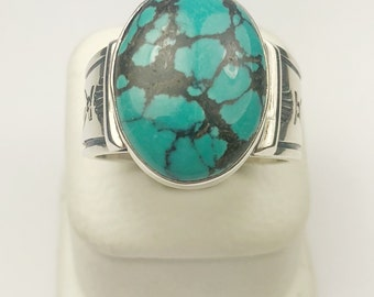 Native American Navajo Handmade Sterling Silver Chinese Turquoise Ring
