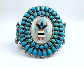 Vintage Native American Navajo handmade Sterling Silver multi-stone cuff bracelet