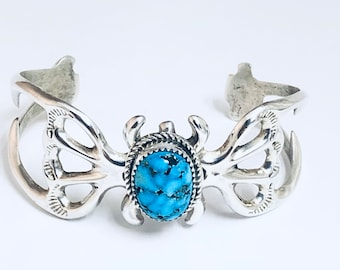 Native American Navajo Handmade Cast Sterling Silver and Turquoise Cuff Bracelet