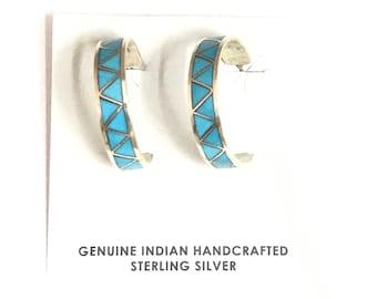 Native American Zuni Handmade Sterling Silver Turquoise Inlay Hoop Earrings