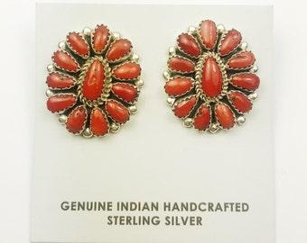 Native American Navajo Handmade Sterling Silver Coral Earrings